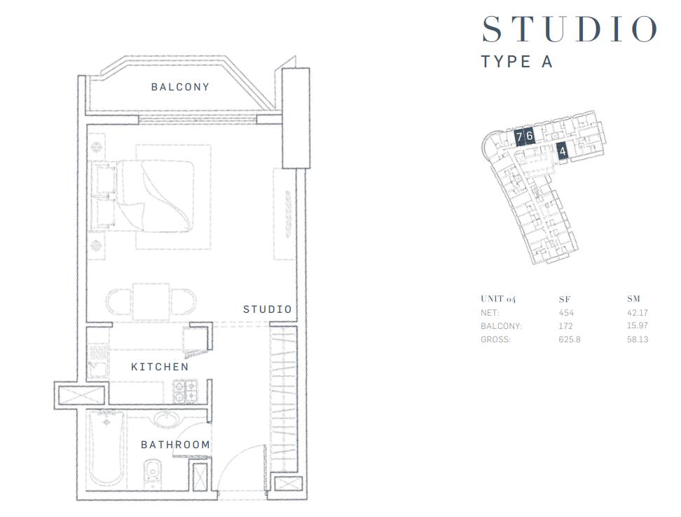 Planning of the apartment Studios, 625.8 in AG Tower Business Bay, Dubai