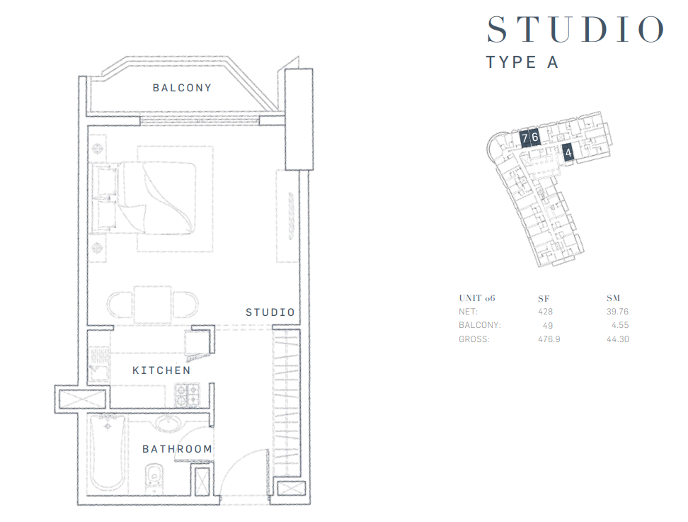 Planning of the apartment Studios, 476.9 in AG Tower Business Bay, Dubai