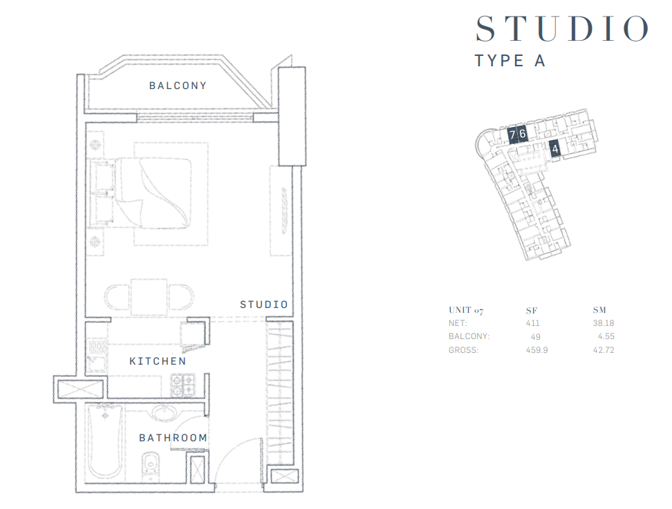 Planning of the apartment Studios, 459.9 in AG Tower Business Bay, Dubai