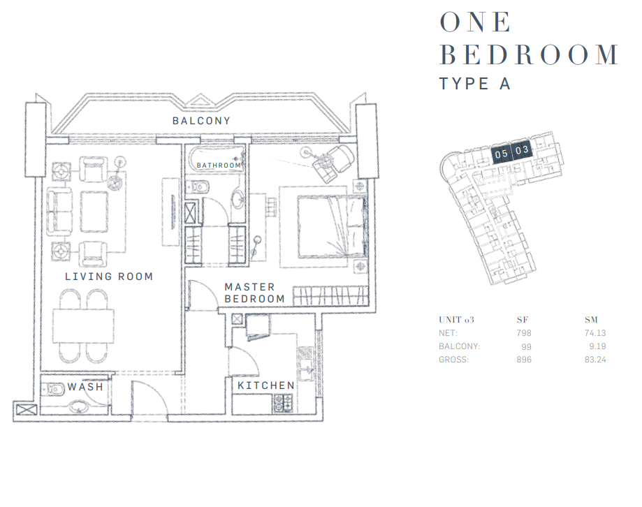 Planning of the apartment 1BR, 896 in AG Tower Business Bay, Dubai