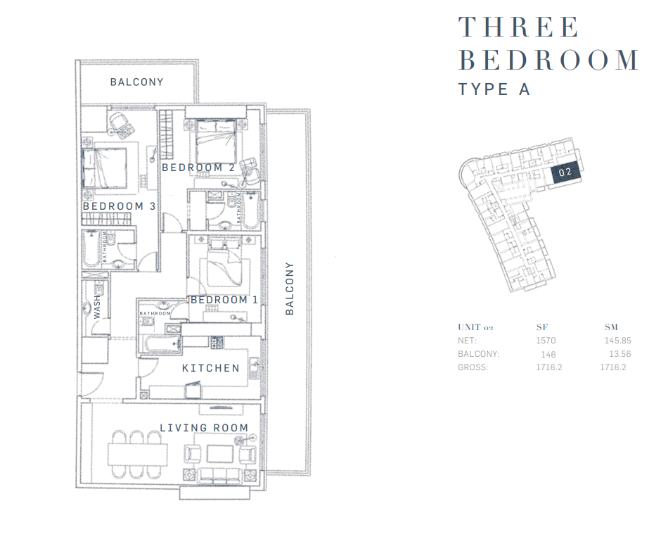 Planning of the apartment 3BR, 1716.2 in AG Tower Business Bay, Dubai