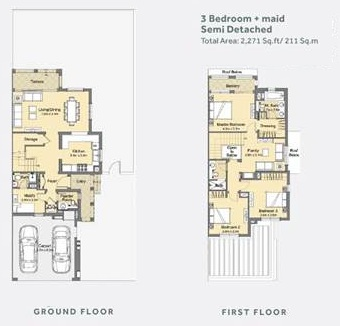 Planning of the apartment Semi-detached, 2271 in Casa Dora Townhouses at Serena, Dubai