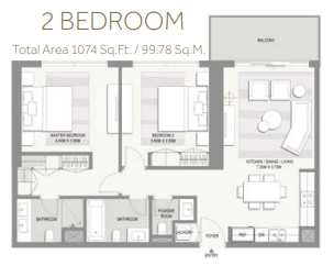 Planning of the apartment 2BR, 1074 in Riverside at Marasi Business Bay, Dubai