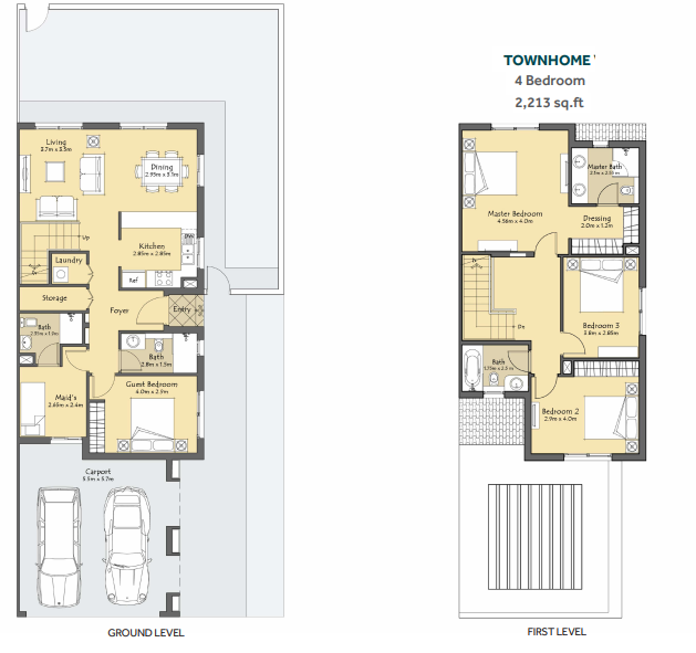 Planning of the apartment Townhouses, 2213 in Amaranta 2, Dubai