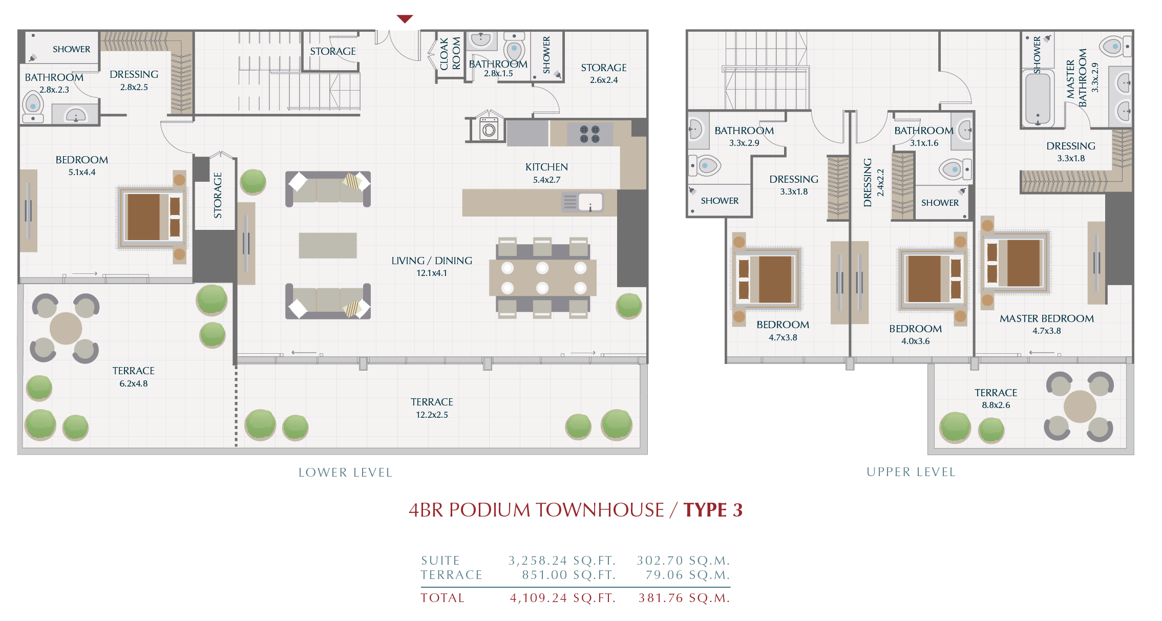 Planning of the apartment Townhouses, 381.76 in Wasl1 Park Gate Residences, Dubai