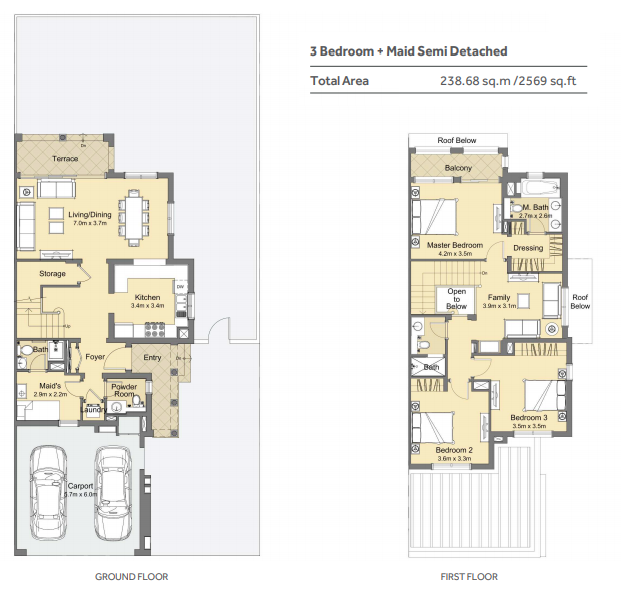 Planning of the apartment 3BR, 2569 in Casa Viva Townhouses, Dubai