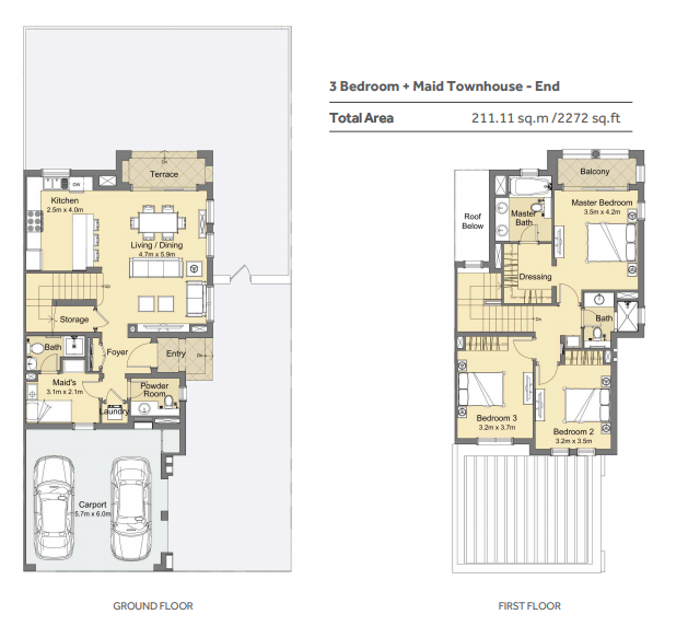 Planning of the apartment 3BR, 2272 in Casa Viva Townhouses, Dubai