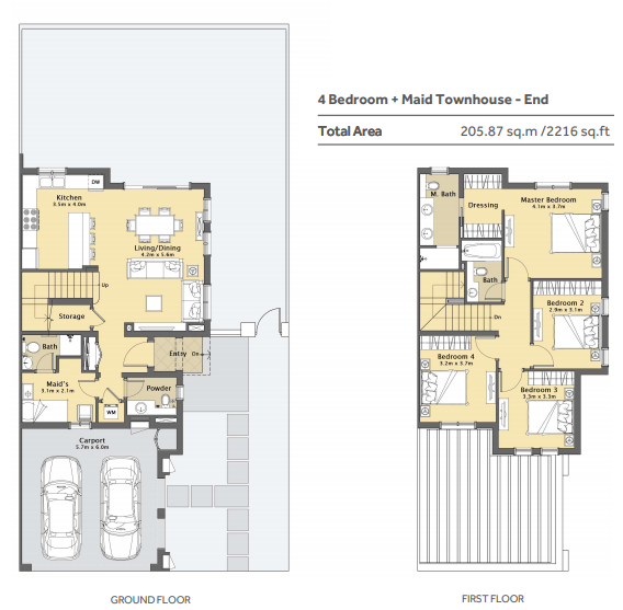 Planning of the apartment 4BR, 2216 in Casa Viva Townhouses, Dubai