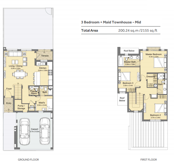 Planning of the apartment 3BR, 2155 in Casa Viva Townhouses, Dubai