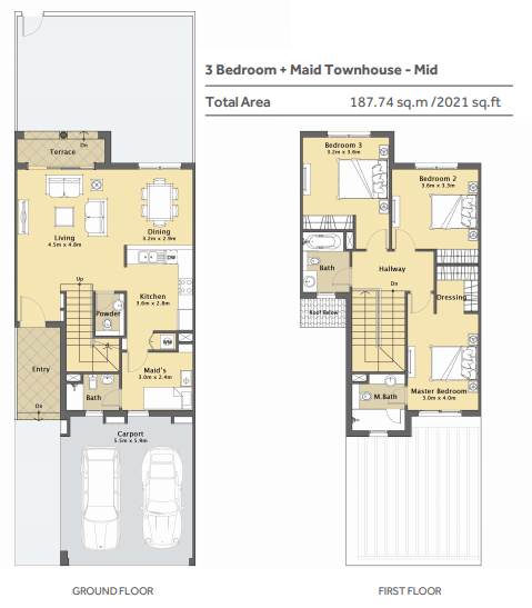 Planning of the apartment 3BR, 2021 in Casa Viva Townhouses, Dubai