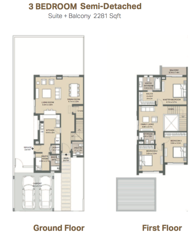 Planning of the apartment Semi-detached, 2281 in Mudon Views, Dubai
