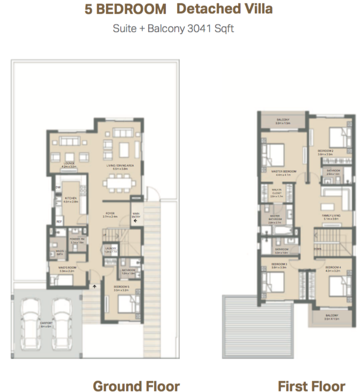 Planning of the apartment Villas, 3041 in Mudon Views, Dubai