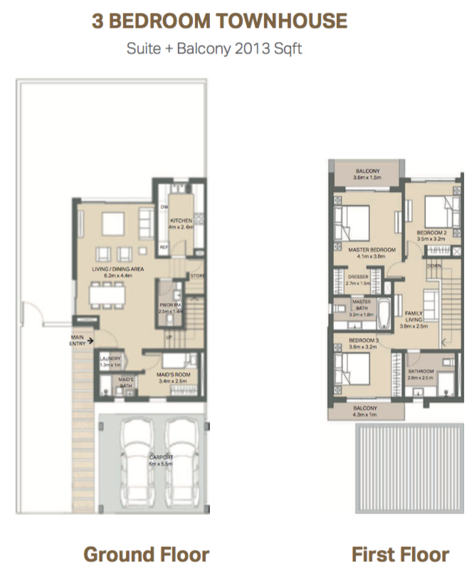 Planning of the apartment Townhouses, 2013 in Mudon Views, Dubai