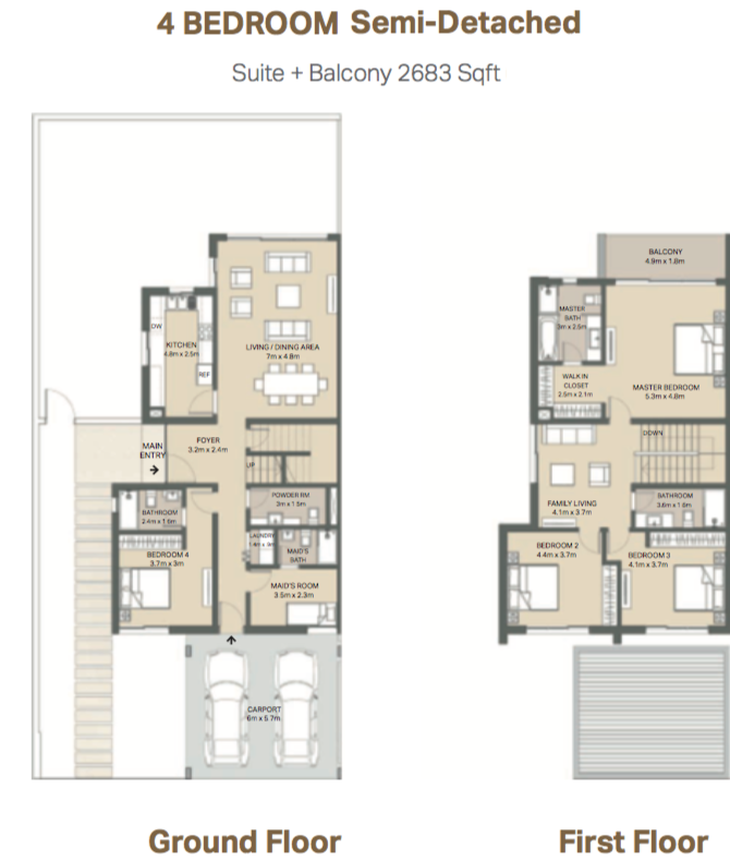 Planning of the apartment Semi-detached, 2683 in Mudon Views, Dubai