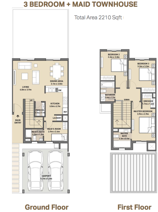 Planning of the apartment Townhouses, 2210 in Mudon Views, Dubai