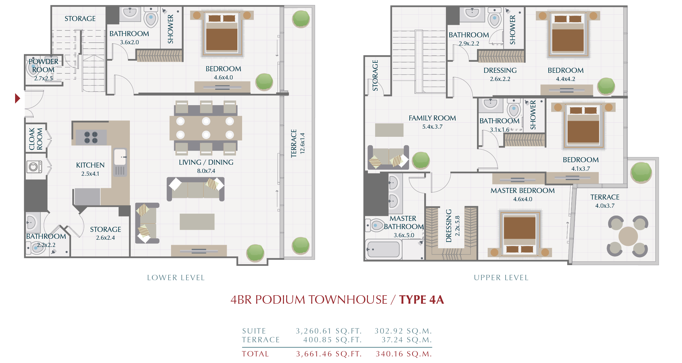 Planning of the apartment Townhouses, 340.16 in Wasl1 Park Gate Residences, Dubai