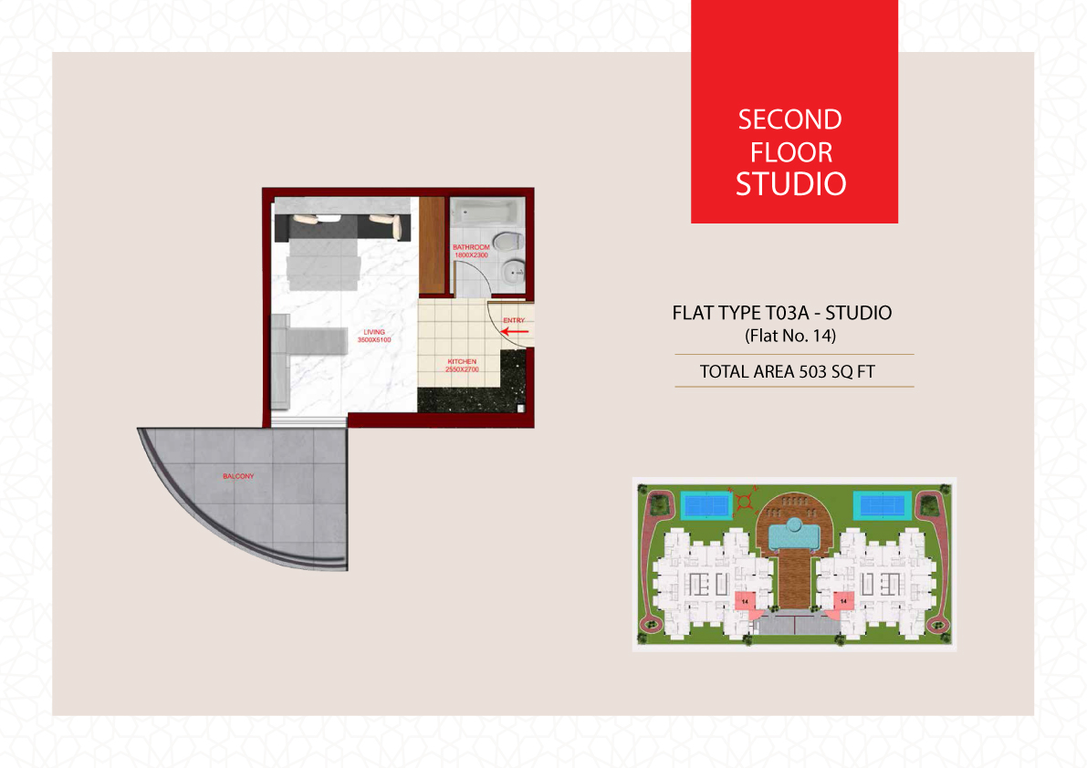 Planning of the apartment Studios, 503 in Glamz, Dubai