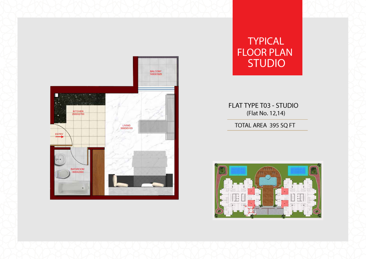 Planning of the apartment Studios, 395 in Glamz, Dubai