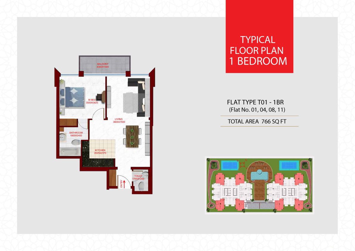 Planning of the apartment 1BR, 766 in Glamz, Dubai