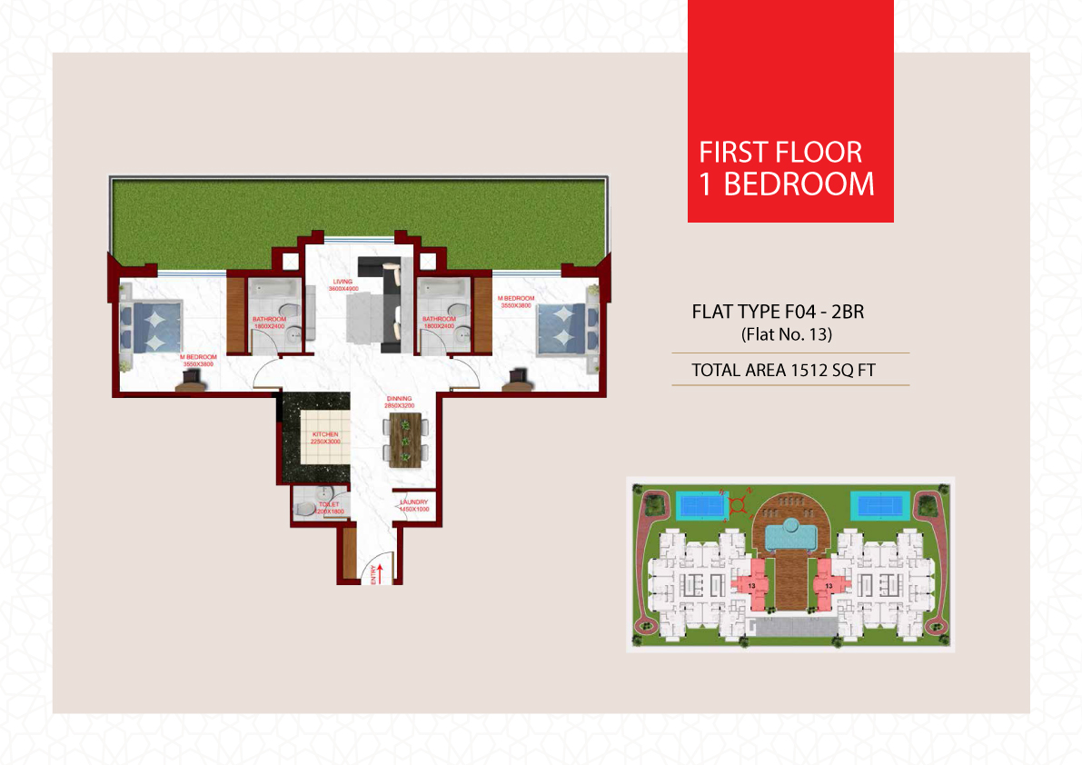 Planning of the apartment 2BR, 1512 in Glamz, Dubai