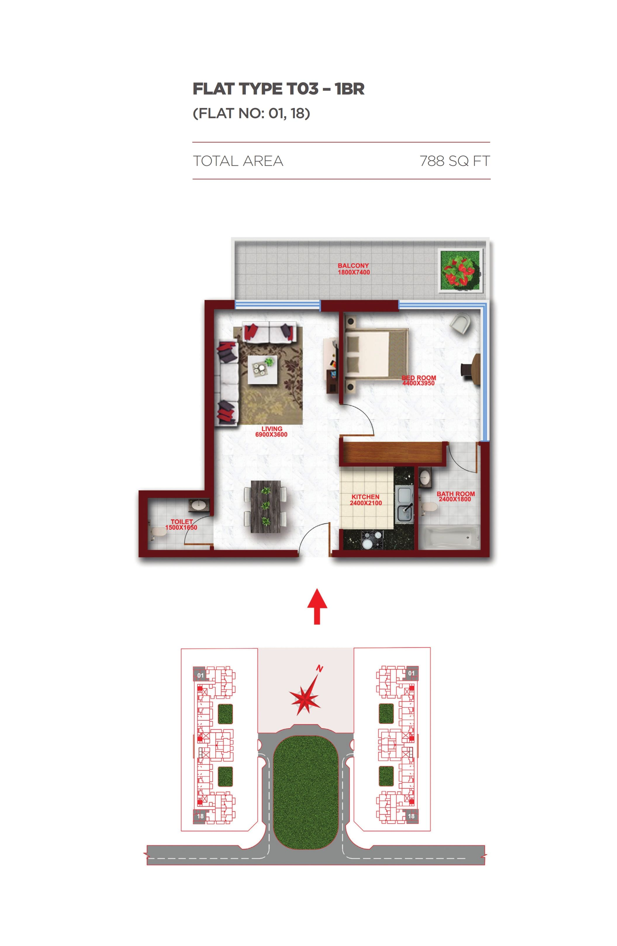 Planning of the apartment 1BR, 788 in Glitz Residence 1, Dubai