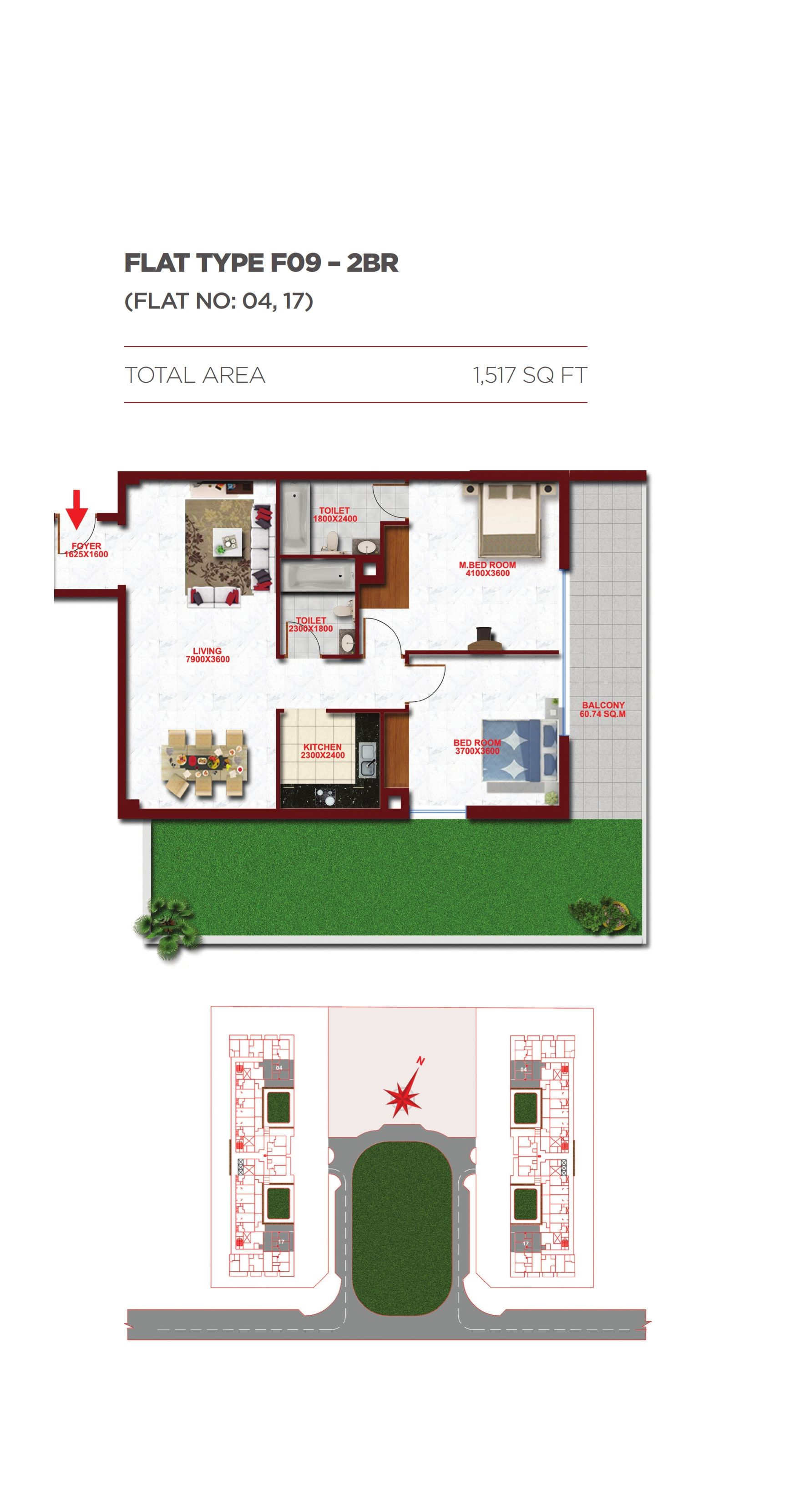 Planning of the apartment 2BR, 1517 in Glitz Residence 1, Dubai