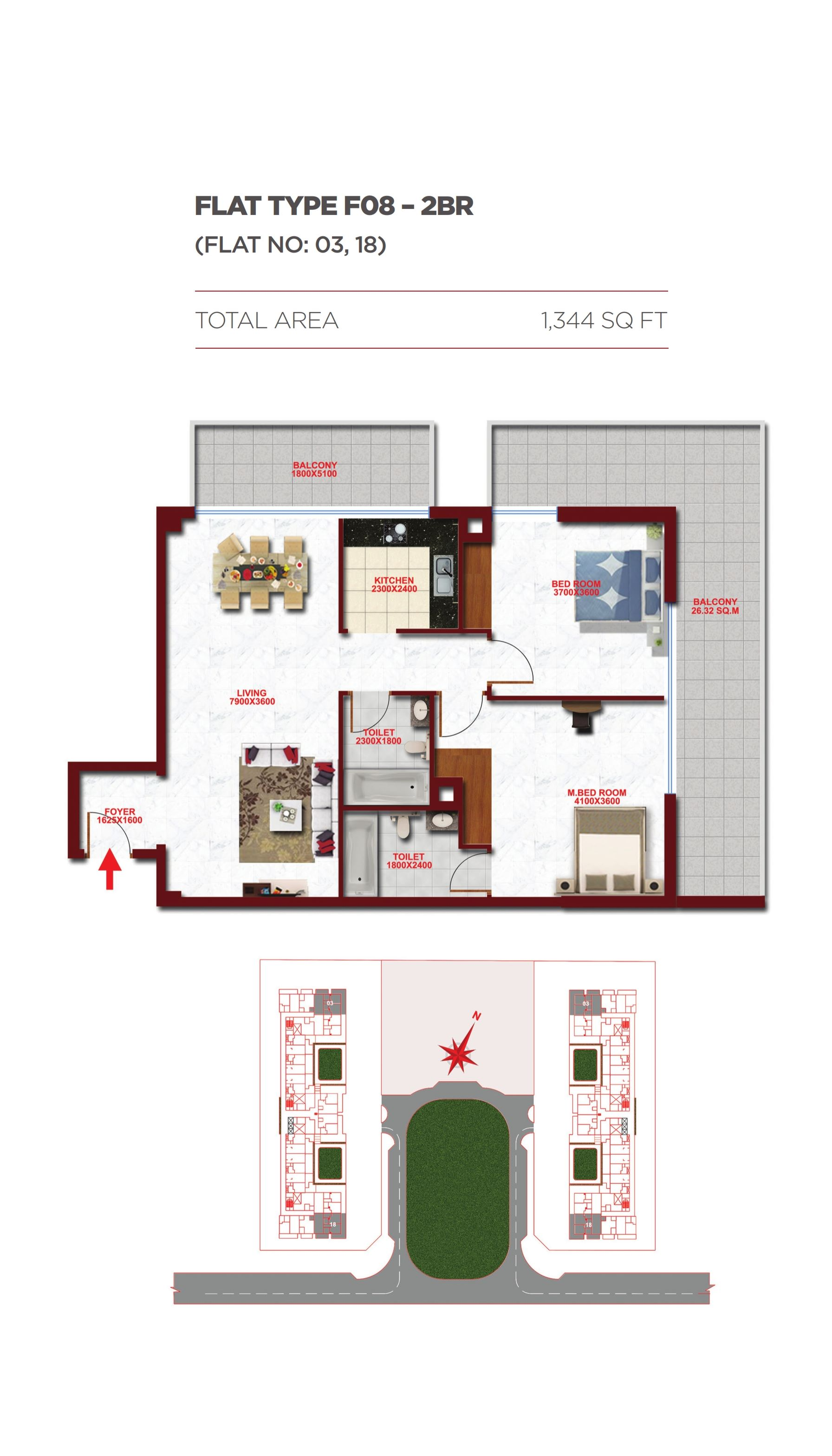 Planning of the apartment 2BR, 1344 in Glitz Residence 1, Dubai