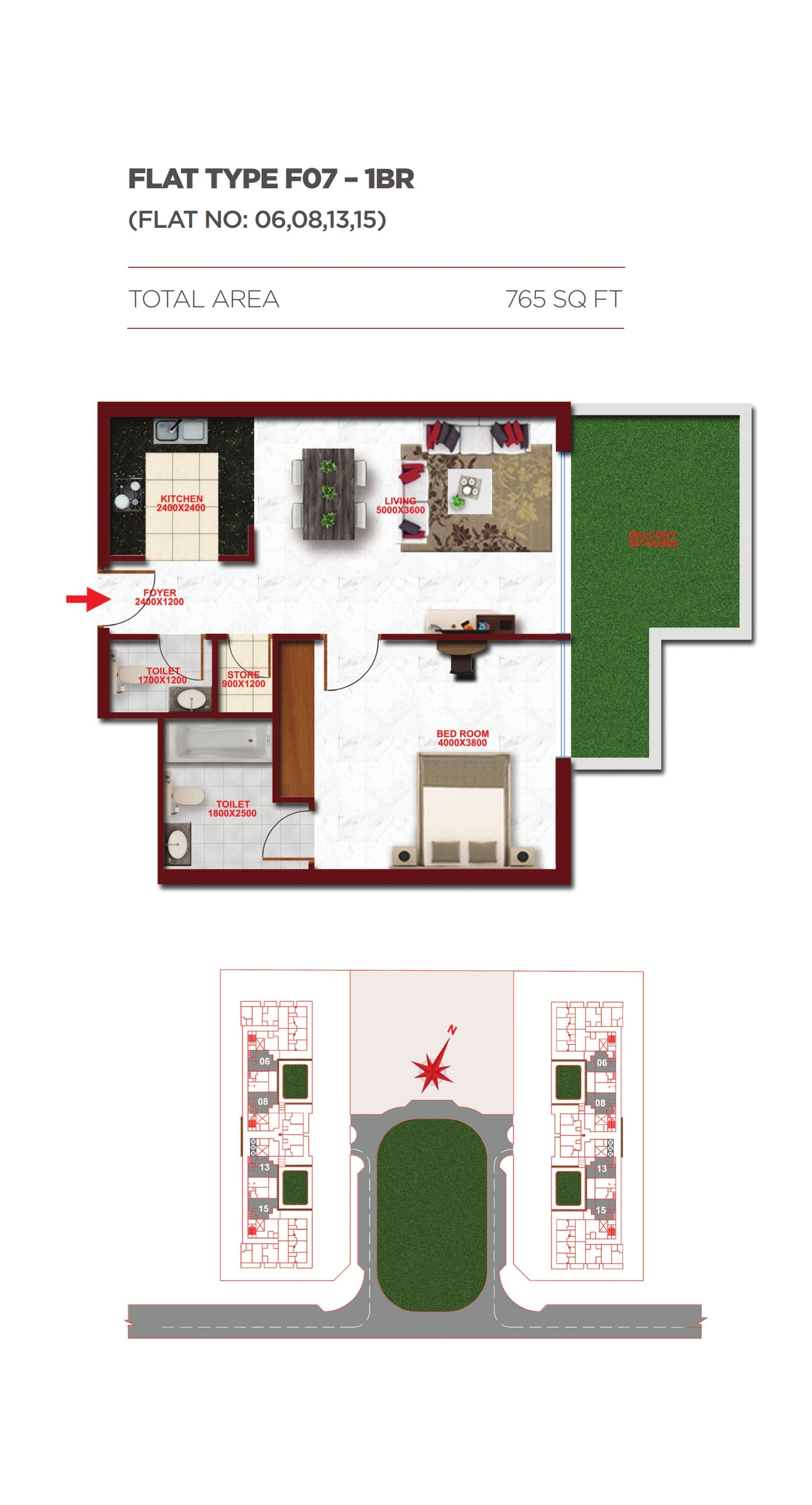 Planning of the apartment 1BR, 765 in Glitz Residence 1, Dubai