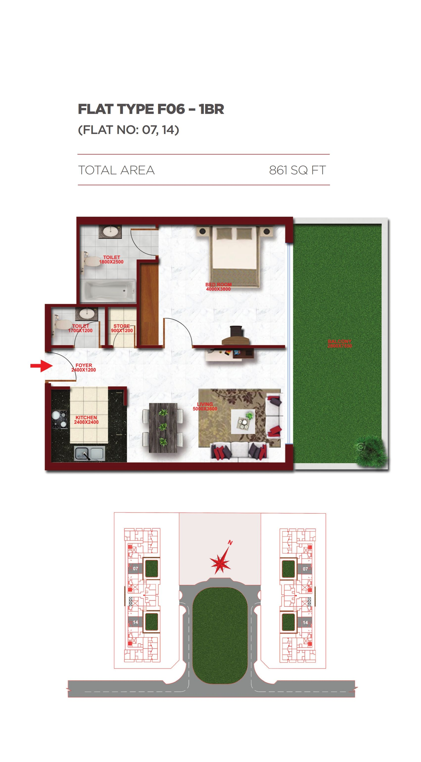 Planning of the apartment 1BR, 861 in Glitz Residence 1, Dubai