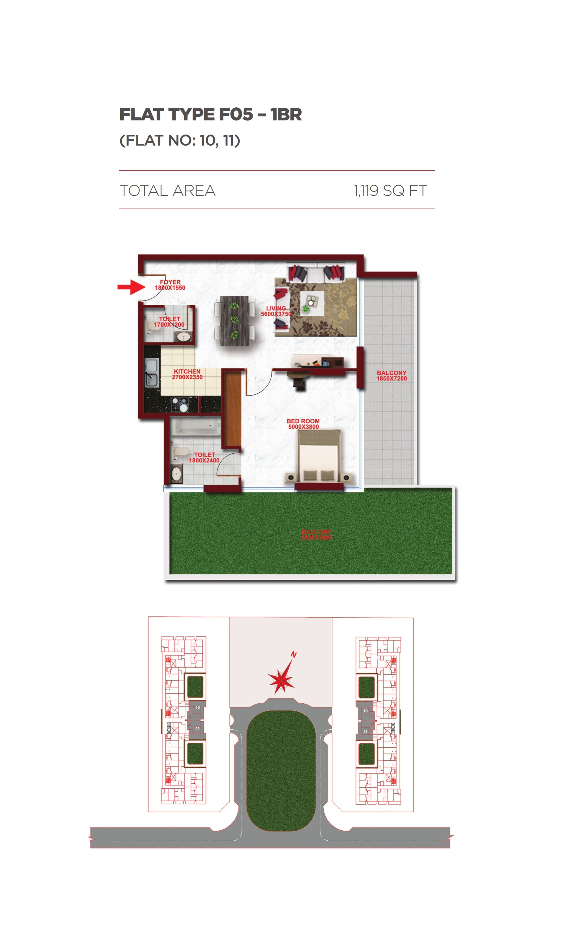 Planning of the apartment 1BR, 1119 in Glitz Residence 1, Dubai