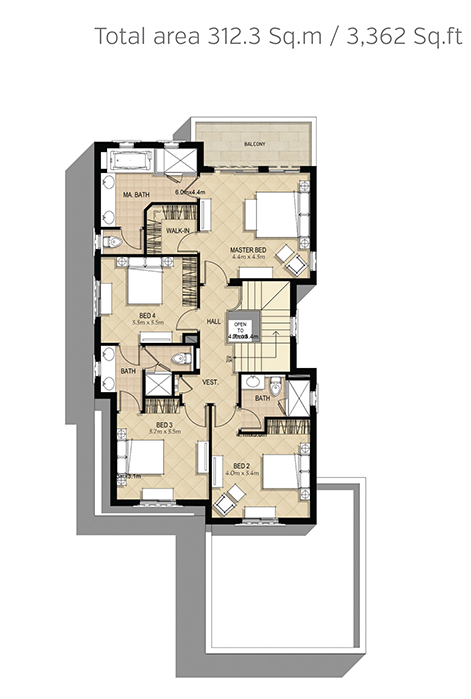 Planning of the apartment 4BR, 3362 in Azalea Villas, Dubai