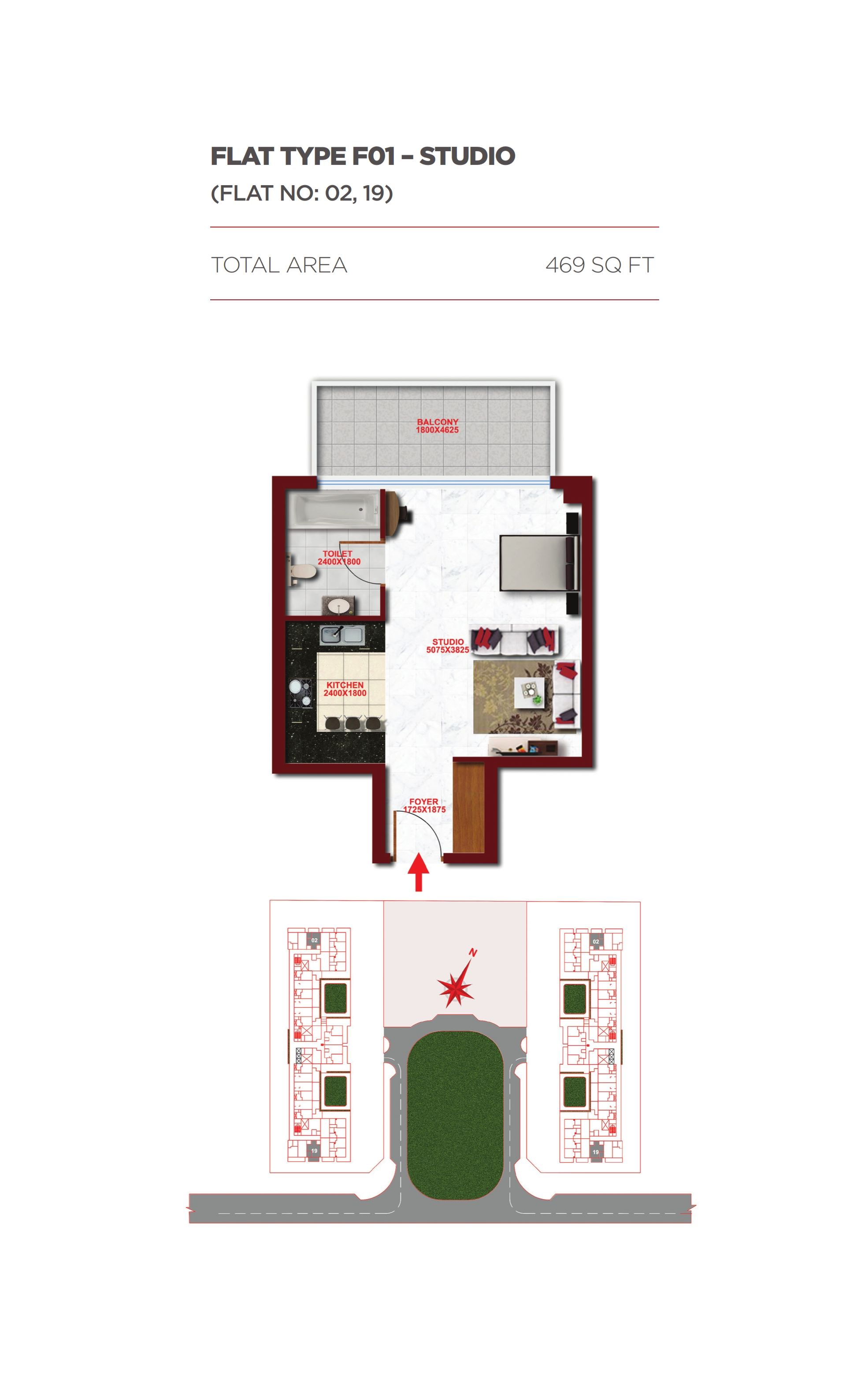 Planning of the apartment Studios, 469 in Glitz Residence 1, Dubai