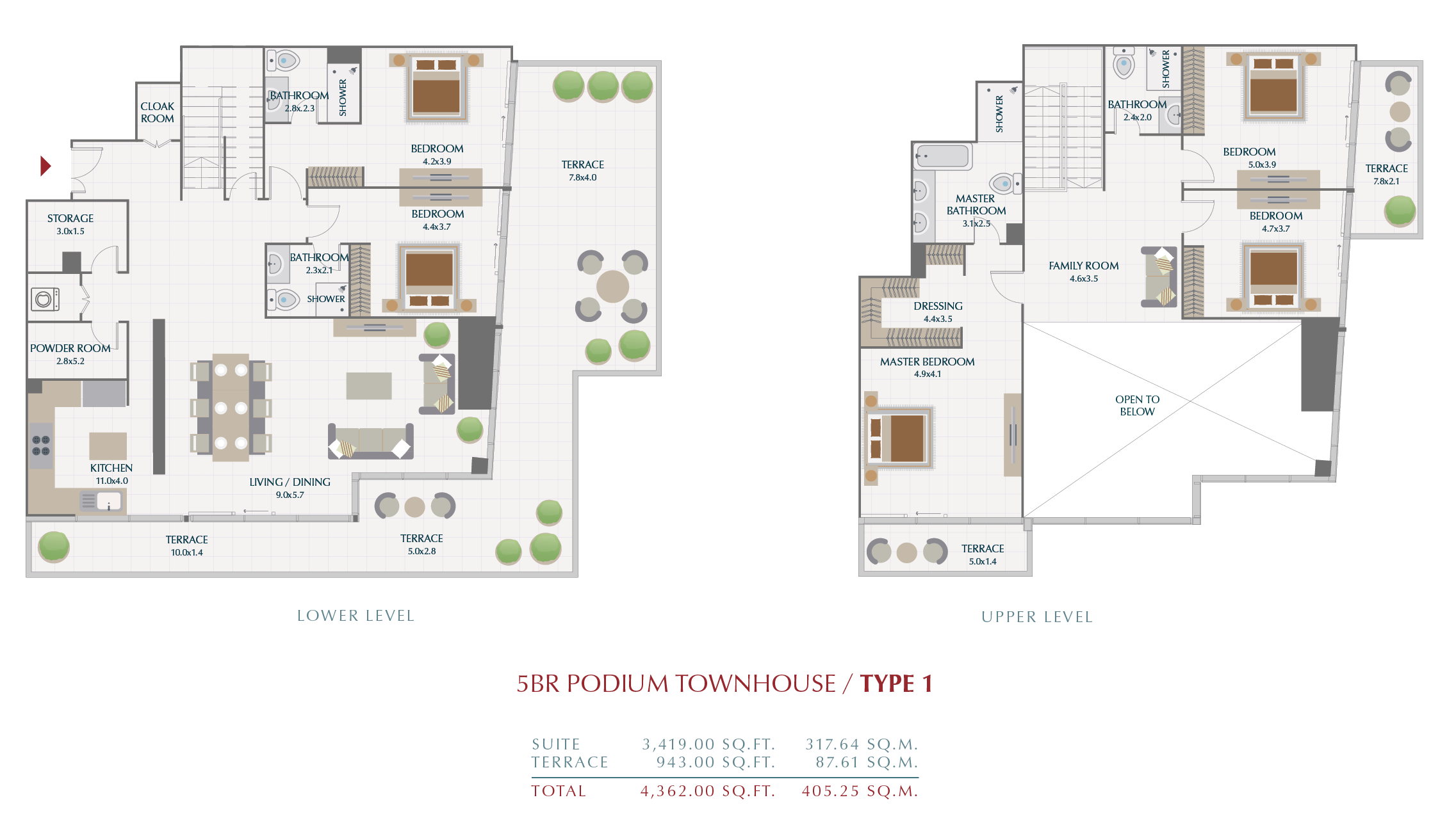 Planning of the apartment Townhouses, 405.25 in Wasl1 Park Gate Residences, Dubai
