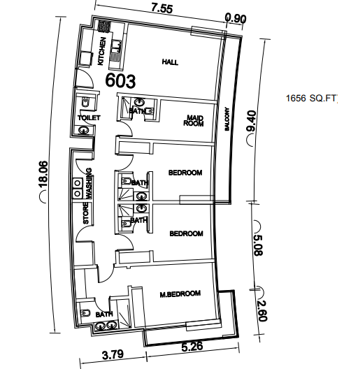 Planning of the apartment 3BR, 1656 in Seven Hotel Apartments, Dubai