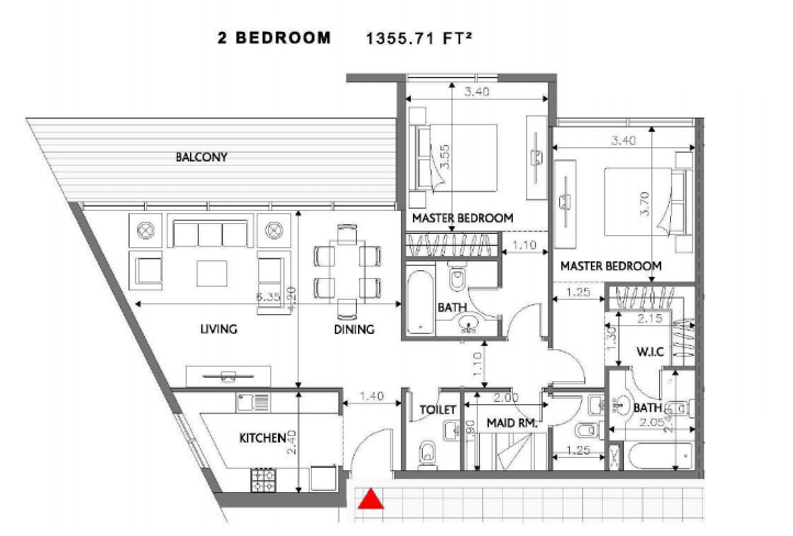 Planning of the apartment 2BR, 1355.71 in Soho Square Apartments, Abu Dhabi