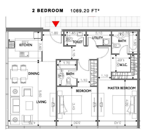 Planning of the apartment 2BR, 1069.2 in Soho Square Apartments, Abu Dhabi