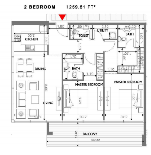 Planning of the apartment 2BR, 1259.81 in Soho Square Apartments, Abu Dhabi