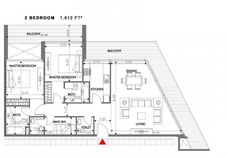 Planning of the apartment 2BR, 1612 in Soho Square Apartments, Abu Dhabi