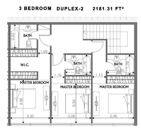 Planning of the apartment Duplexes, 2181.31 in Soho Square Apartments, Abu Dhabi