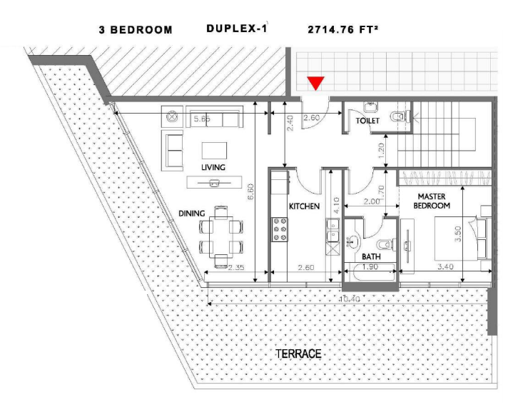 Planning of the apartment Duplexes, 2714.76 in Soho Square Apartments, Abu Dhabi