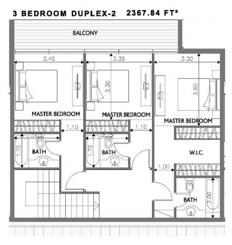 Planning of the apartment Duplexes, 2367.84 in Soho Square Apartments, Abu Dhabi