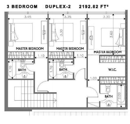 Planning of the apartment Duplexes, 2192.82 in Soho Square Apartments, Abu Dhabi