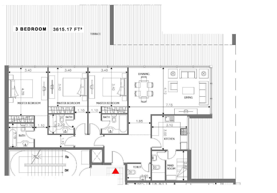 Planning of the apartment 3BR, 3615.17 in Soho Square Apartments, Abu Dhabi