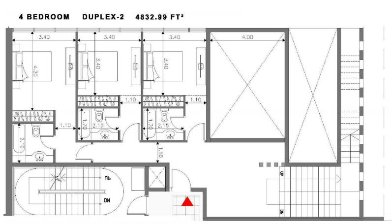Planning of the apartment Duplexes, 4832.99 in Soho Square Apartments, Abu Dhabi
