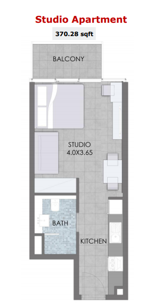 Planning of the apartment Studios, 370.28 in Bloom Towers, Dubai