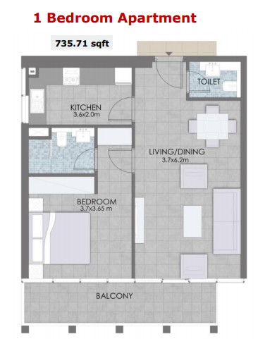 Planning of the apartment 1BR, 735.71 in Bloom Towers, Dubai