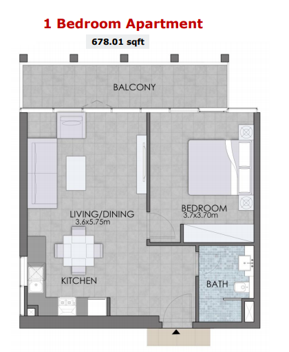Planning of the apartment 1BR, 678.01 in Bloom Towers, Dubai