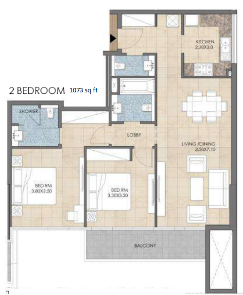 Planning of the apartment 2BR, 1073 in Bloom Heights, Dubai