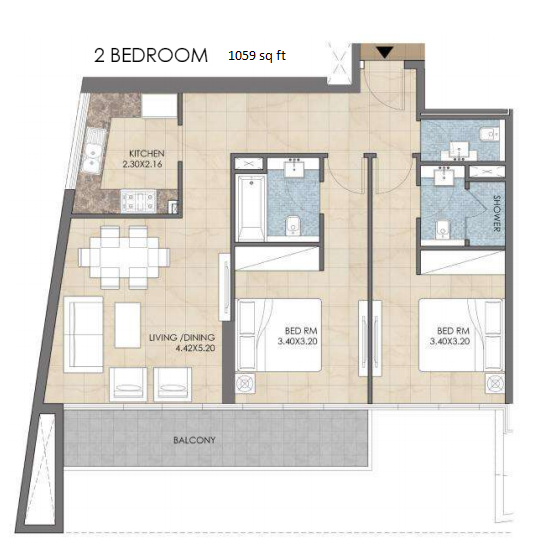 Planning of the apartment 2BR, 1059 in Bloom Heights, Dubai