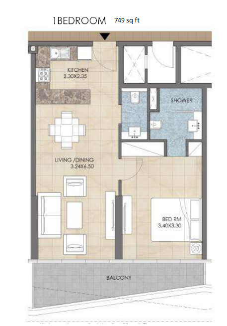 Planning of the apartment 1BR, 749 in Bloom Heights, Dubai